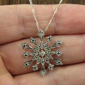 "Jewelry - 16"" Sterling Silver Diamond Snowflake Necklace"